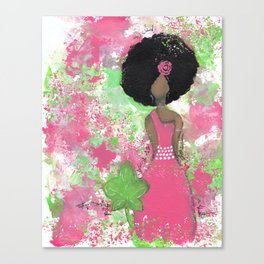 Dripping Pink and Green Angel Canvas Print