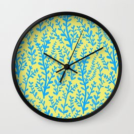 Yellow and Blue Floral Leaves Gouache Pattern Wall Clock