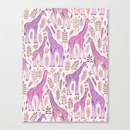 Pink Giraffe Pattern Canvas Print