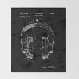 Headphones Patent - White on Black Throw Blanket