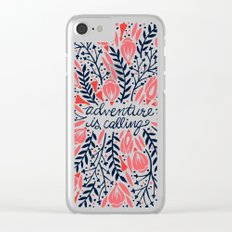 Adventure is Calling – Red & Black Palette Clear iPhone Case