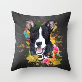 Black pup Throw Pillow