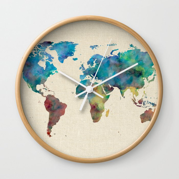 World map watercolor linen blue red yellow green wall clock by world map watercolor linen blue red yellow green wall clock gumiabroncs Choice Image