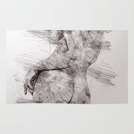 Nude woman pencil drawing Rug