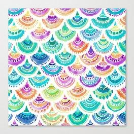 RAINBOW MERMACITA Colorful Mermaid Scales Canvas Print
