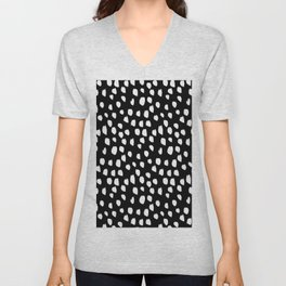 Handdrawn drops and dots on black - Mix & Match with Simplicty of life Unisex V-Neck