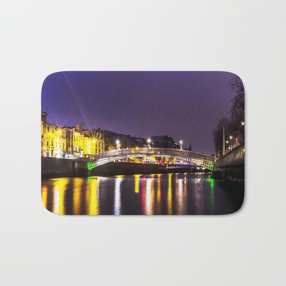 Liffey Bridge Ha'penny Bridge At Night Dublin Irel… Bath Mat by Alexartphotovideo BMT8634972