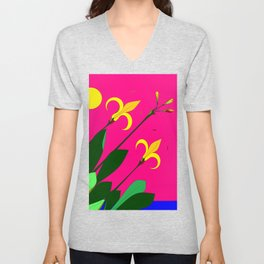 Yellow Lilies with the Sun in the Pink Sky Unisex V-Neck