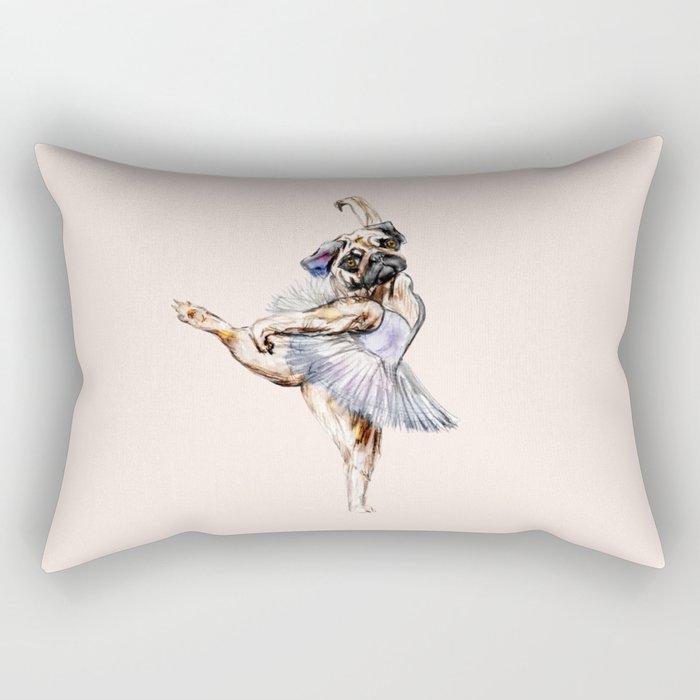 Pug Ballerina in Dog Ballet | Swan Lake  Rectangular Pillow