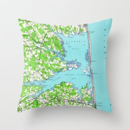 Vintage Rehoboth & Bethany Beach DE Map (1938) Throw Pillow