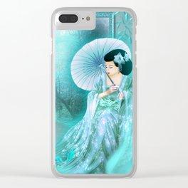 Geisha In Teal Clear iPhone Case