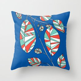 Colorful Tree Branch Drawing by Emma Freeman Designs Throw Pillow