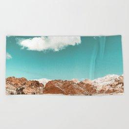 Vintage Red Rocks // Snow in the Mojave Desert Clouds Teal Sky Mountain Range Landscape Beach Towel