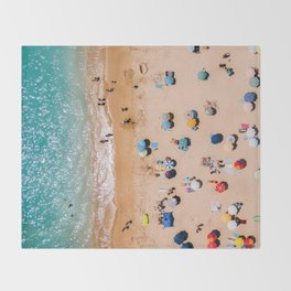 People On Algarve Beach In Portugal, Drone Photography, Aerial Photo, Ocean Wall Art Print Throw Blanket