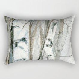 Winter Birch Trees Woodland Watercolor Original Art Print Rectangular Pillow
