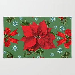 SNOW FLAKES & RED CHRISTMAS POINSETTIA HOLLY BERRIES ART Rug