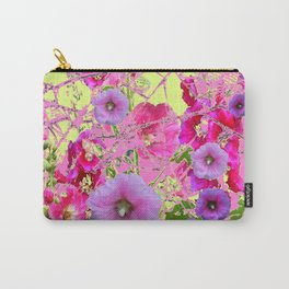 CONTEMPORARY PINK & LILAC HOLLYHOCKS ART Carry-All Pouch