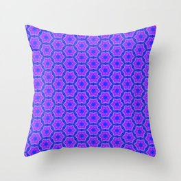 Purple and blue hexagon pattern Throw Pillow