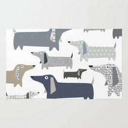 Wiener Dog Pattern Rug