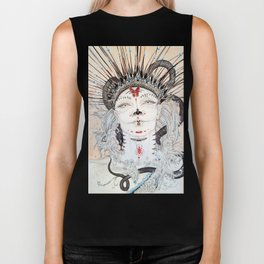 Day of the Dead Portrait Sugar skull with Moth and insect Biker Tank