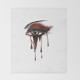 Red vampire eye makeup Throw Blanket