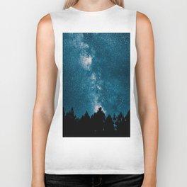 Blue Milky Way At Night Pine Tree Silhouette Stars Night Time Biker Tank