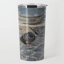angry pidgeon on the ground Travel Mug