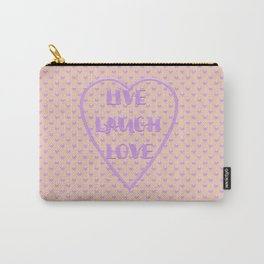 Lavender LIVE LAUGH LOVE Polka Dots Peach Carry-All Pouch