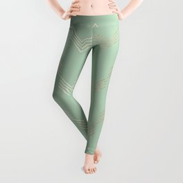 Simply Deconstructed Chevron in White Gold Sands and Pastel Cactus Green Leggings