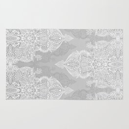 Lace & Shadows 2 - Monochrome Moroccan doodle Rug