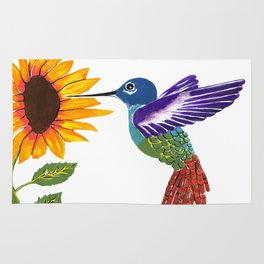 The Sunflower And The Hummingbird Rug