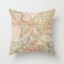 Vintage World Ocean Currents Map (1905) Throw Pillow