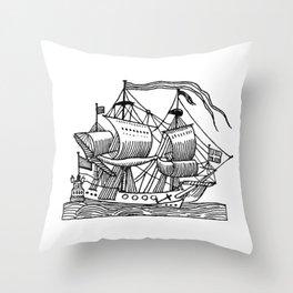 Ship Barco Bateau Schiff лодка Throw Pillow