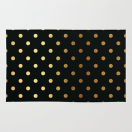 Gold polka dots on black pattern Rug