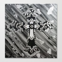 silver black crystal cross Canvas Print
