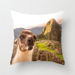 Llama #selfie Throw Pillow