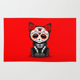 Cute Red Day of the Dead Kitten Cat Rug