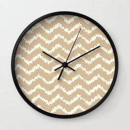 Ragged Chevron - Taupe/Cream Wall Clock
