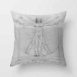 Leonardo da Vinci Vitruvian Man with Wings Study of Angels Throw Pillow