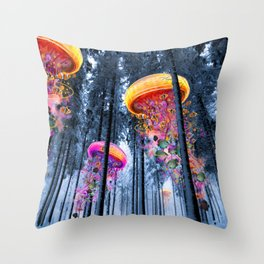Winter Forest of Electric Jellyfish Worlds Throw Pillow