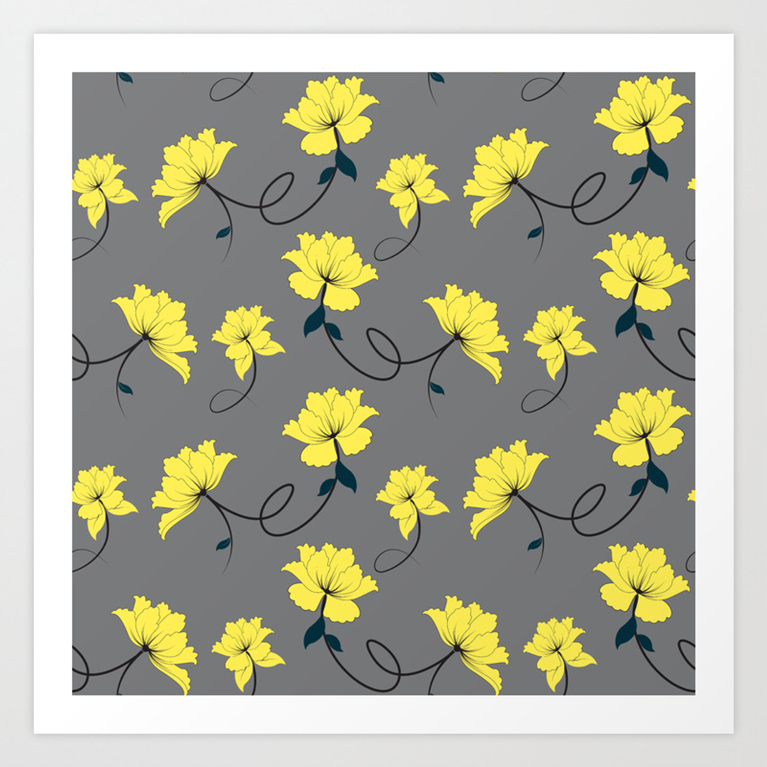 Yellow Flowers On Gray Grey Background Floral Pattern Art Print