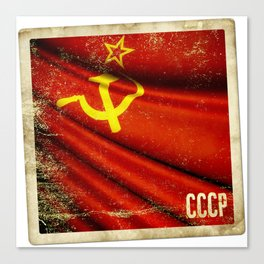 Sticker of Soviet Union (1922-1991) flag Canvas Print