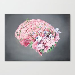 Floral Anatomy Brain Canvas Print