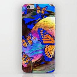 SURREAL BLUE  MONARCH BUTTERFLIES & IRIDESCENT BUBBLES  ART iPhone Skin