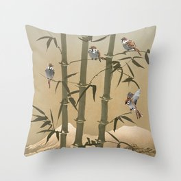 Sparrows And Bamboo Throw Pillow