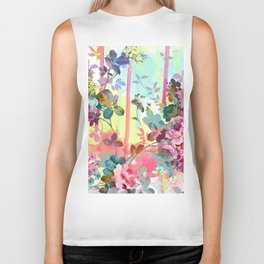 Abstract pink teal watercolor floral illustration Biker Tank