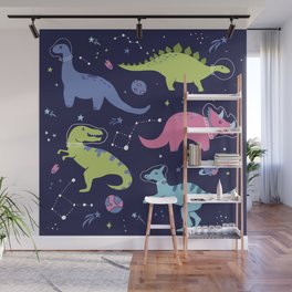 Dinosaurs in Space Wall Mural