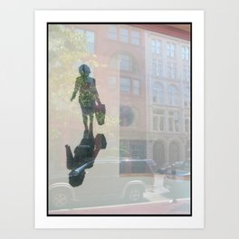 Bag Lady Reflection Art Print