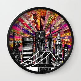 Linocut New York Blooming Wall Clock