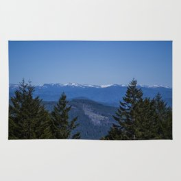 Snow topped mountains. Rug